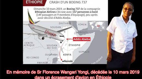 Mémoire de Sr Florence décédée dans le crash du Boeing 737