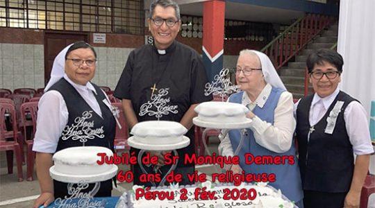Jubilé du 60e de vie de religieuse de Sr Monique Demers